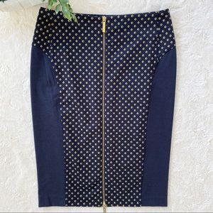 Michael Kors blue tan exposed zipper pencil skirt
